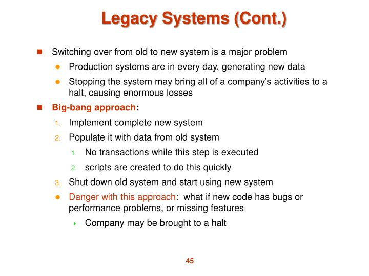 Legacy Systems (Cont.)