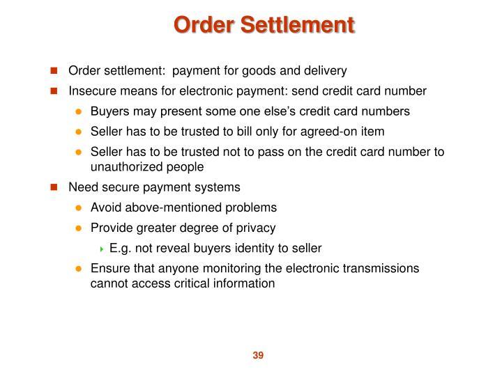 Order Settlement