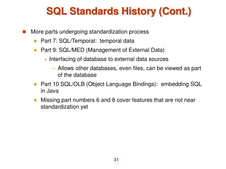 SQL Standards History (Cont.)