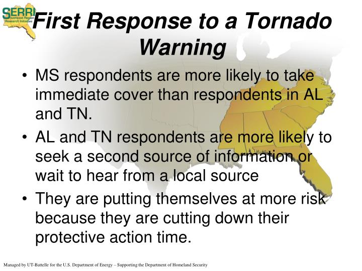 First Response to a Tornado Warning
