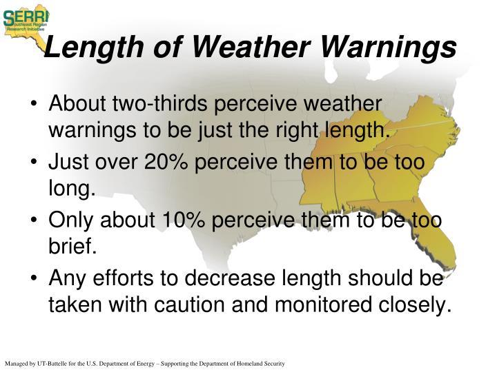 Length of Weather Warnings