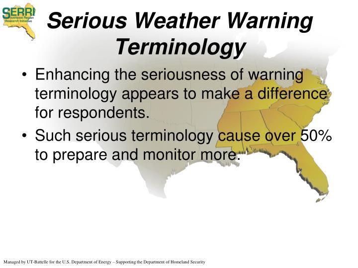 Serious Weather Warning Terminology