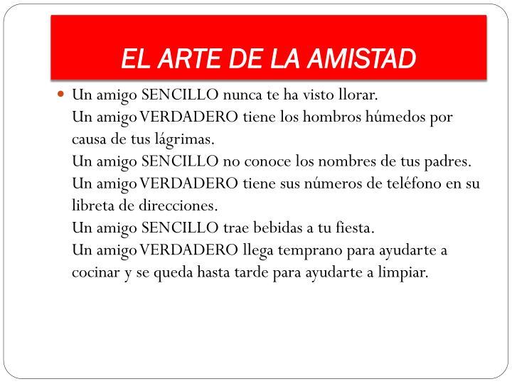 EL ARTE DE LA AMISTAD