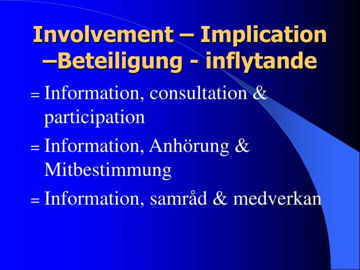Involvement – Implication –Beteiligung - inflytande