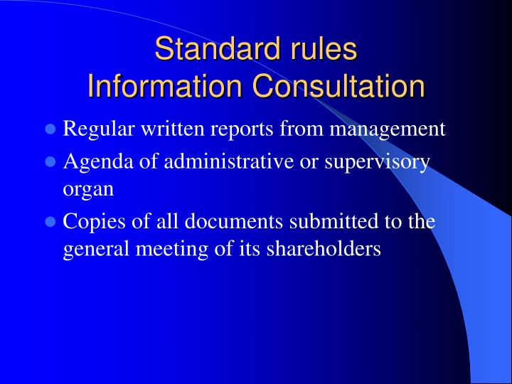 Standard rules