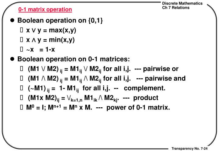0-1 matrix operation