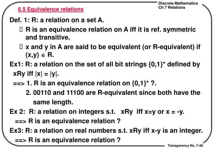 6.5 Equivalence relations