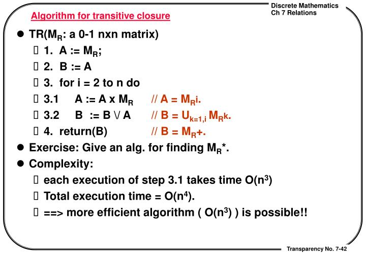 Algorithm for transitive closure