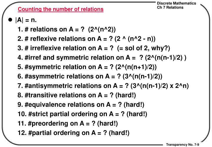 Counting the number of relations