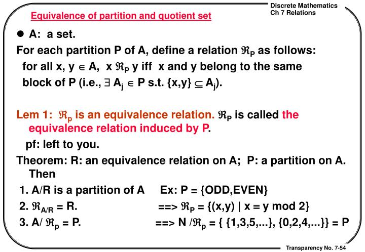 Equivalence of partition and quotient set
