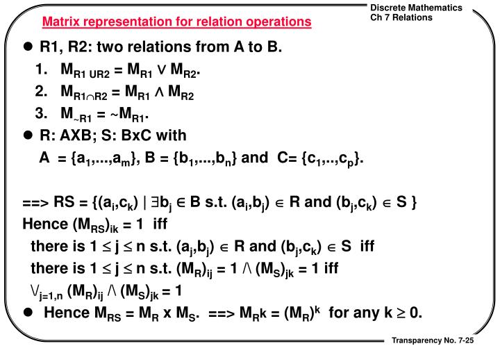 Matrix representation for relation operations