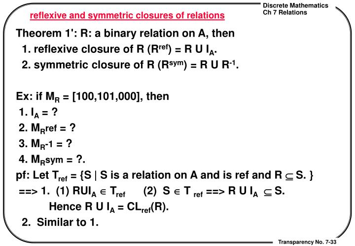 reflexive and symmetric closures of relations
