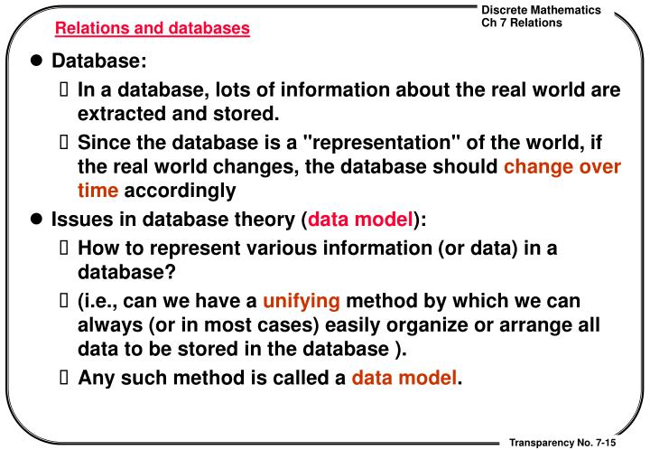 Relations and databases