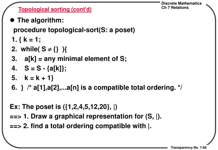 Topological sorting (cont'd)
