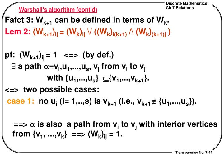 Warshall's algorithm (cont'd)