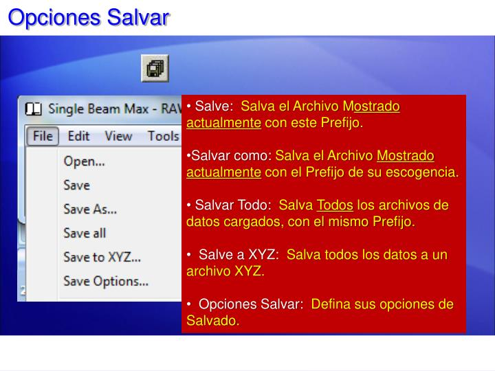 Opciones Salvar