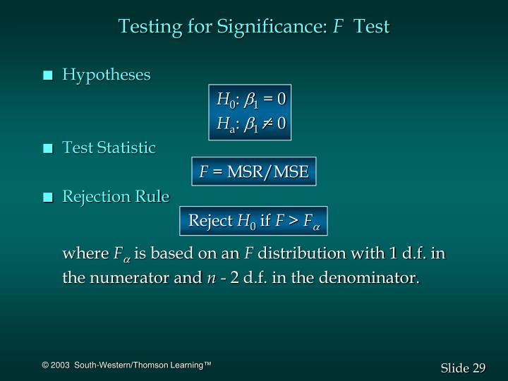 Testing for Significance: