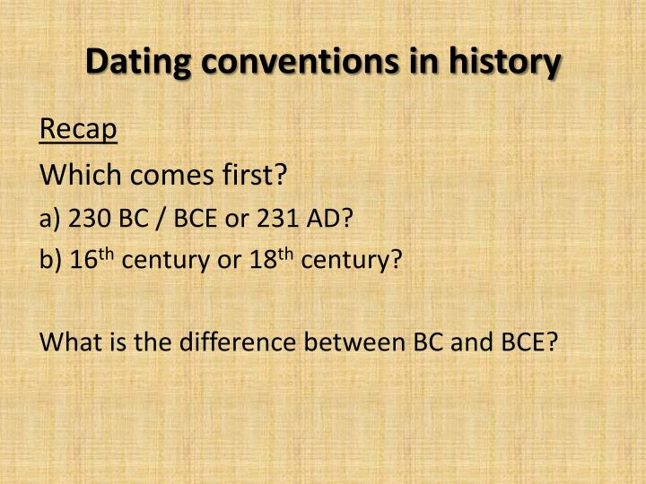 Dating conventions in history