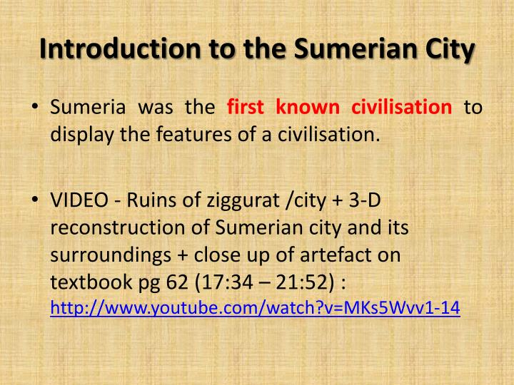 Introduction to the Sumerian City