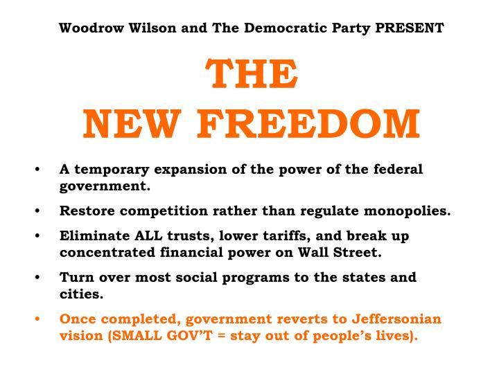 Woodrow Wilson and The Democratic Party PRESENT