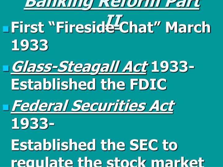 Banking Reform Part II