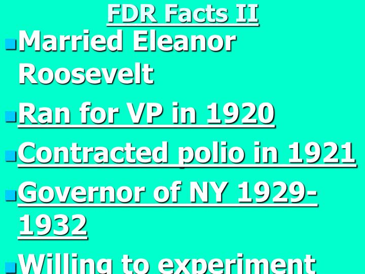 FDR Facts II