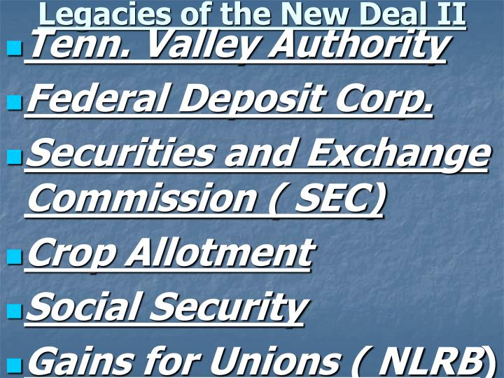 Legacies of the New Deal II