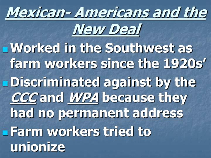 Mexican- Americans and the New Deal