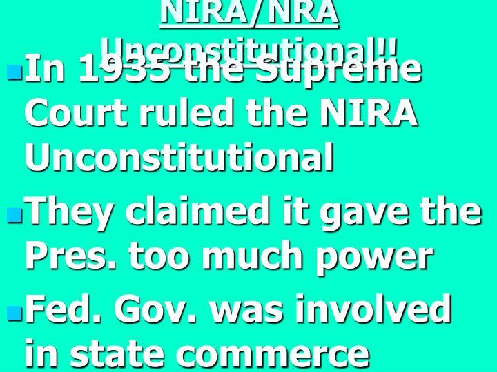 NIRA/NRA Unconstitutional!!