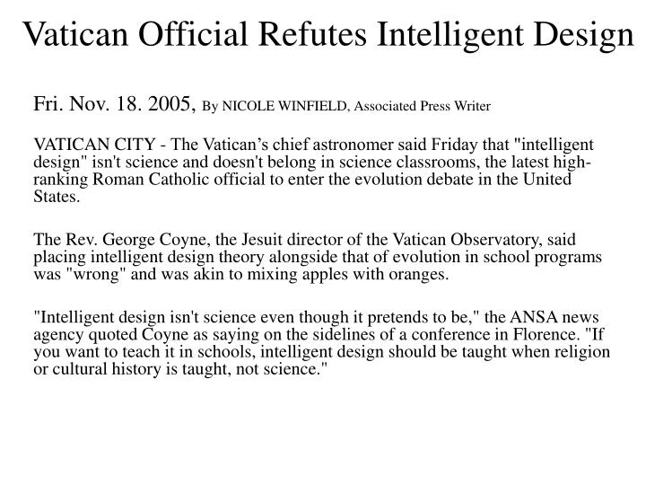 Vatican Official Refutes Intelligent Design