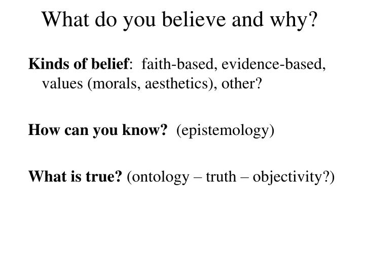 What do you believe and why