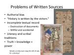 problems of written sources