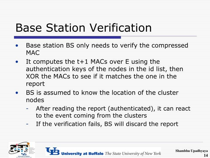 Base Station Verification