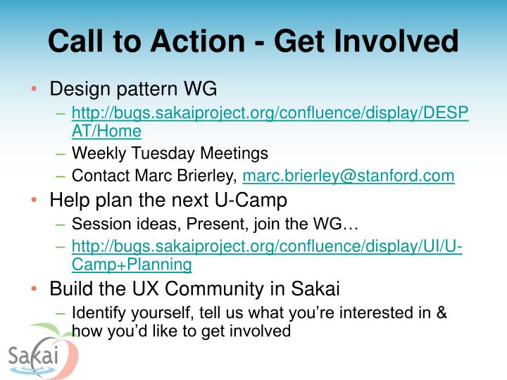 Call to Action - Get Involved