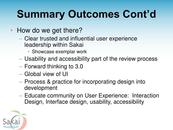 Summary Outcomes Cont'd
