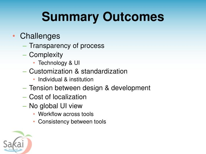 Summary Outcomes