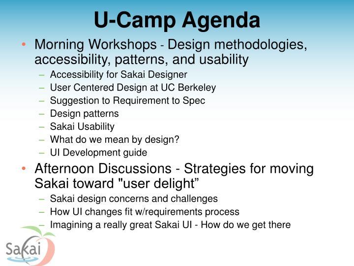 U-Camp Agenda