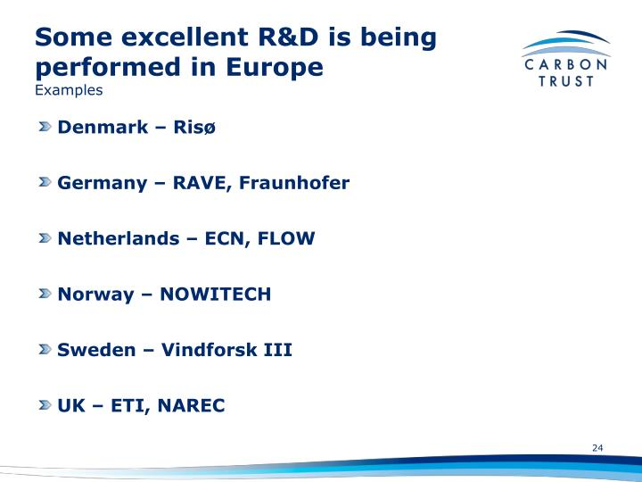 Some excellent R&D is being performed in Europe