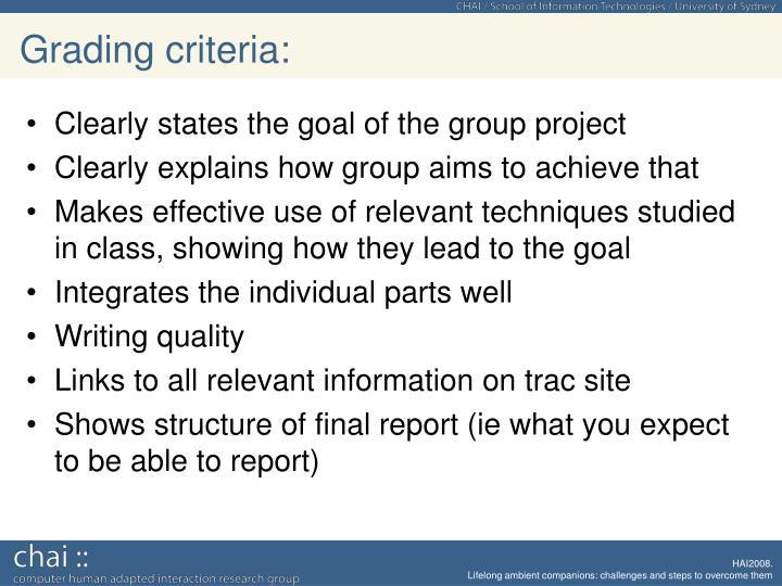 Grading criteria: