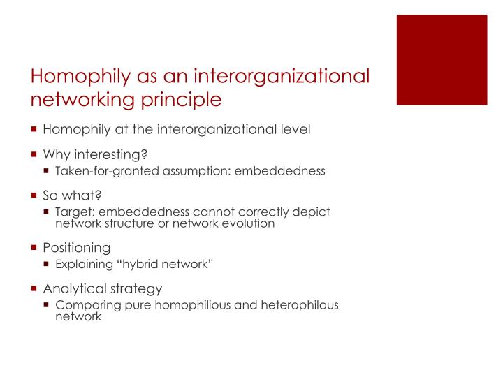 Homophily as an interorganizational networking principle