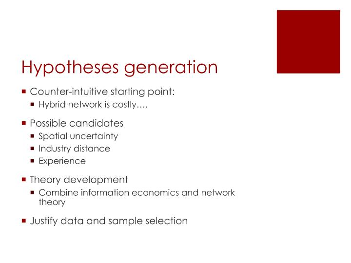 Hypotheses generation