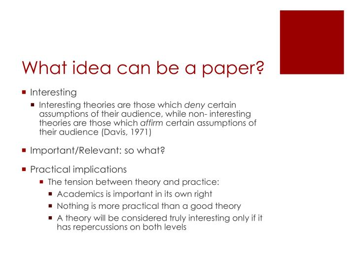 What idea can be a paper