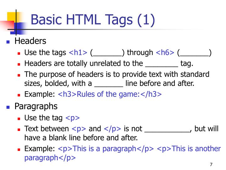 Basic HTML Tags (1)