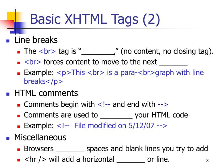 Basic XHTML Tags (2)