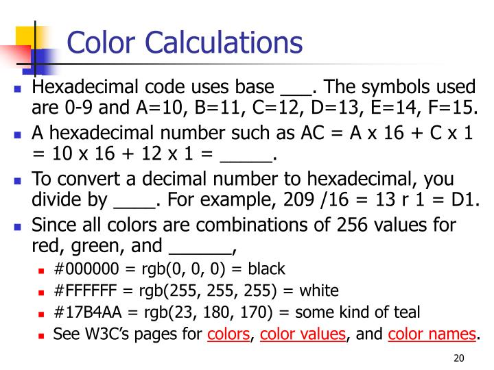 Color Calculations