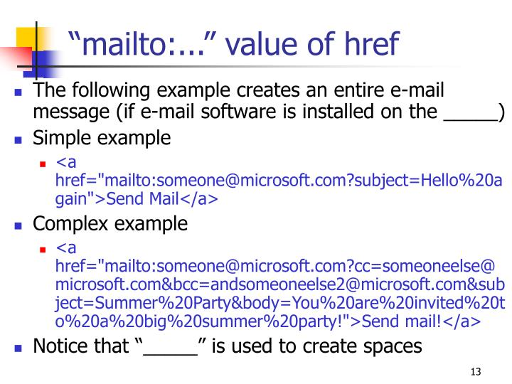 """mailto:..."" value of href"