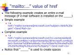 mailto value of href
