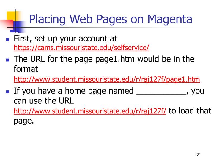 Placing Web Pages on Magenta