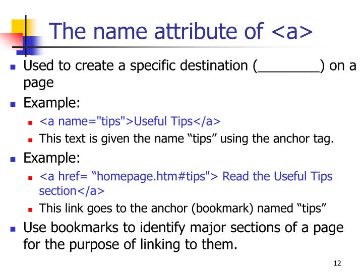The name attribute of <a>
