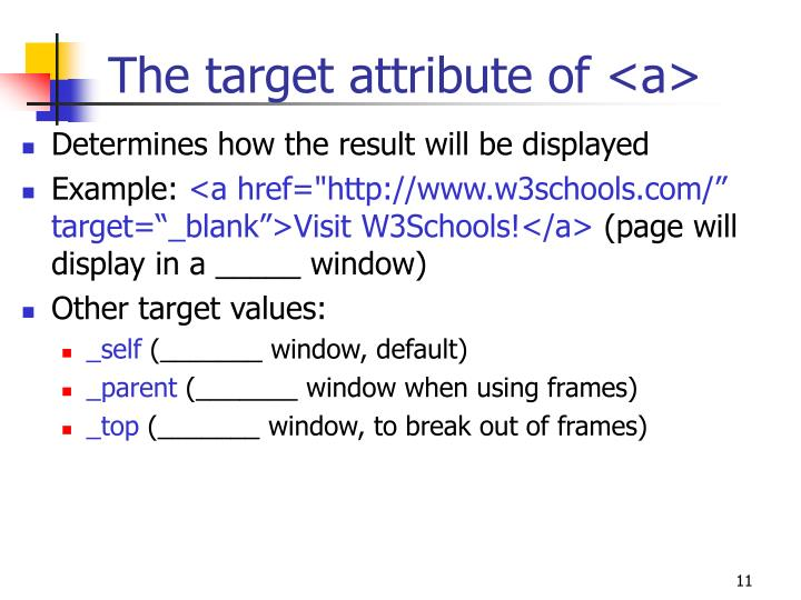 The target attribute of <a>
